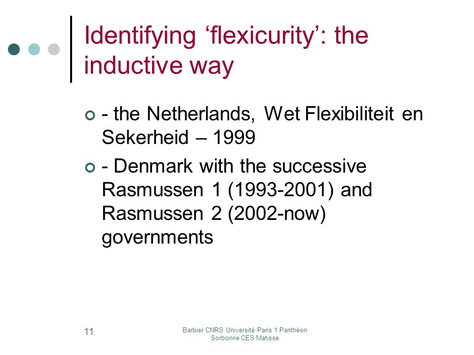 Barbier CNRS Université Paris 1 Panthéon Sorbonne CES Matisse 11 Identifying flexicurity: the inductive way - the Netherlands, Wet Flexibiliteit en Sekerheid – Denmark with the successive Rasmussen 1 ( ) and Rasmussen 2 (2002-now) governments