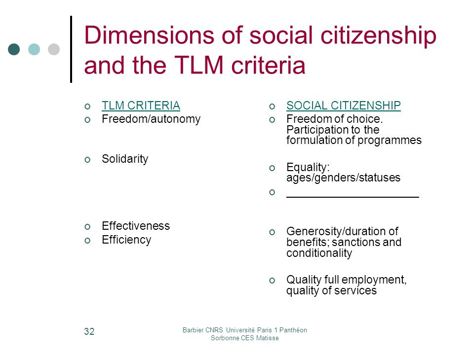 Barbier CNRS Université Paris 1 Panthéon Sorbonne CES Matisse 32 Dimensions of social citizenship and the TLM criteria TLM CRITERIA Freedom/autonomy Solidarity Effectiveness Efficiency SOCIAL CITIZENSHIP Freedom of choice.