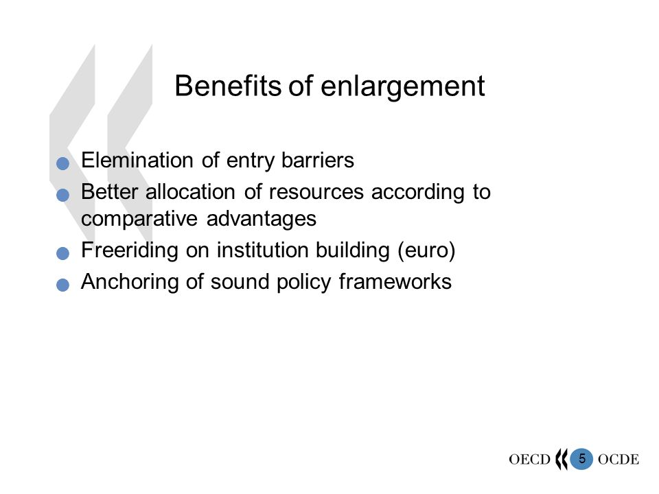 5 Benefits of enlargement Elemination of entry barriers Better allocation of resources according to comparative advantages Freeriding on institution building (euro) Anchoring of sound policy frameworks