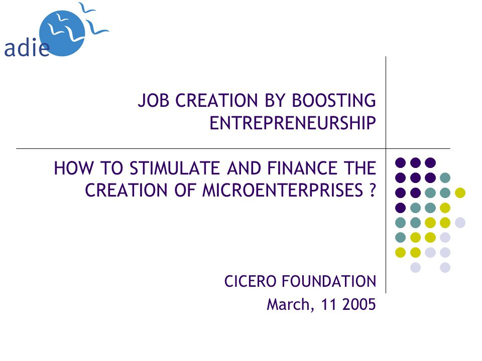 JOB CREATION BY BOOSTING ENTREPRENEURSHIP HOW TO STIMULATE AND FINANCE THE CREATION OF MICROENTERPRISES .