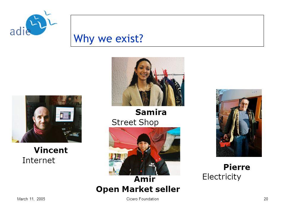 March 11, 2005Cicero Foundation20 Pierre Electricity Amir Open Market seller Samira Street Shop Vincent Internet Why we exist?