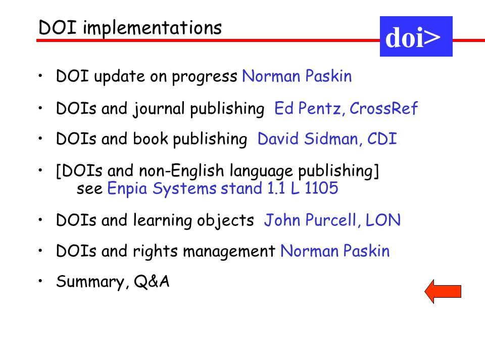 DOI update on progress Norman Paskin DOIs and journal publishing Ed Pentz, CrossRef DOIs and book publishing David Sidman, CDI [DOIs and non-English l