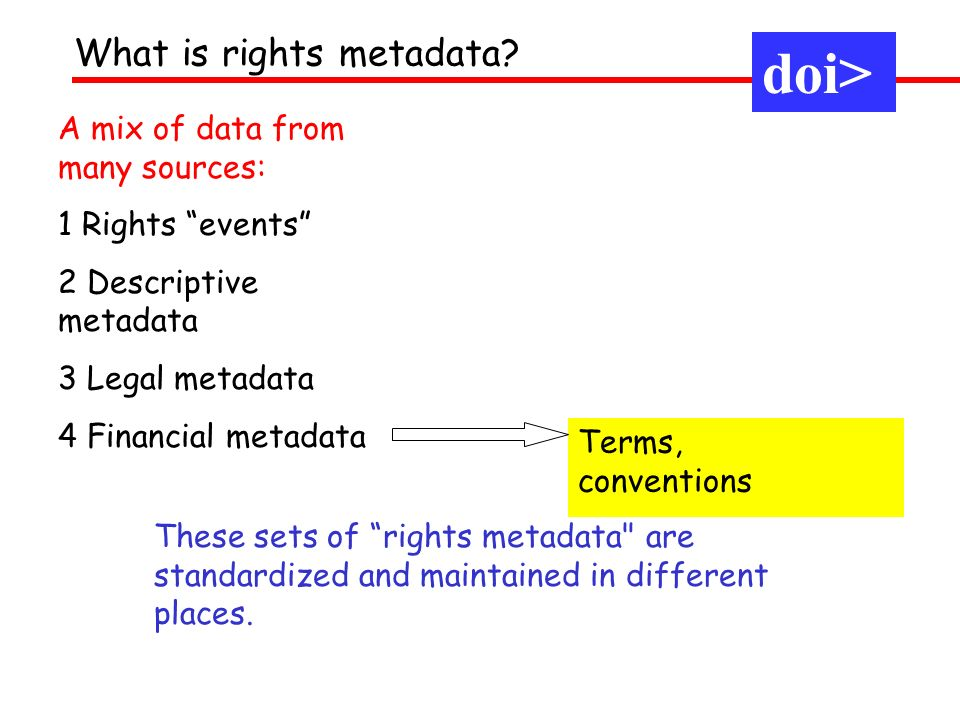 A mix of data from many sources: 1 Rights events 2 Descriptive metadata 3 Legal metadata 4 Financial metadata Terms, conventions What is rights metadata.