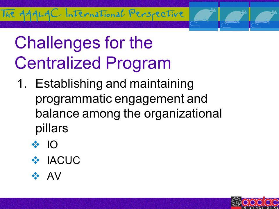 Challenges for the Centralized Program 1.Establishing and maintaining programmatic engagement and balance among the organizational pillars IO IACUC AV