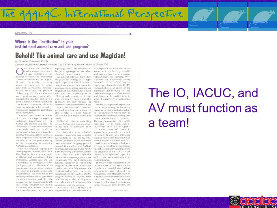 The IO, IACUC, and AV must function as a team!