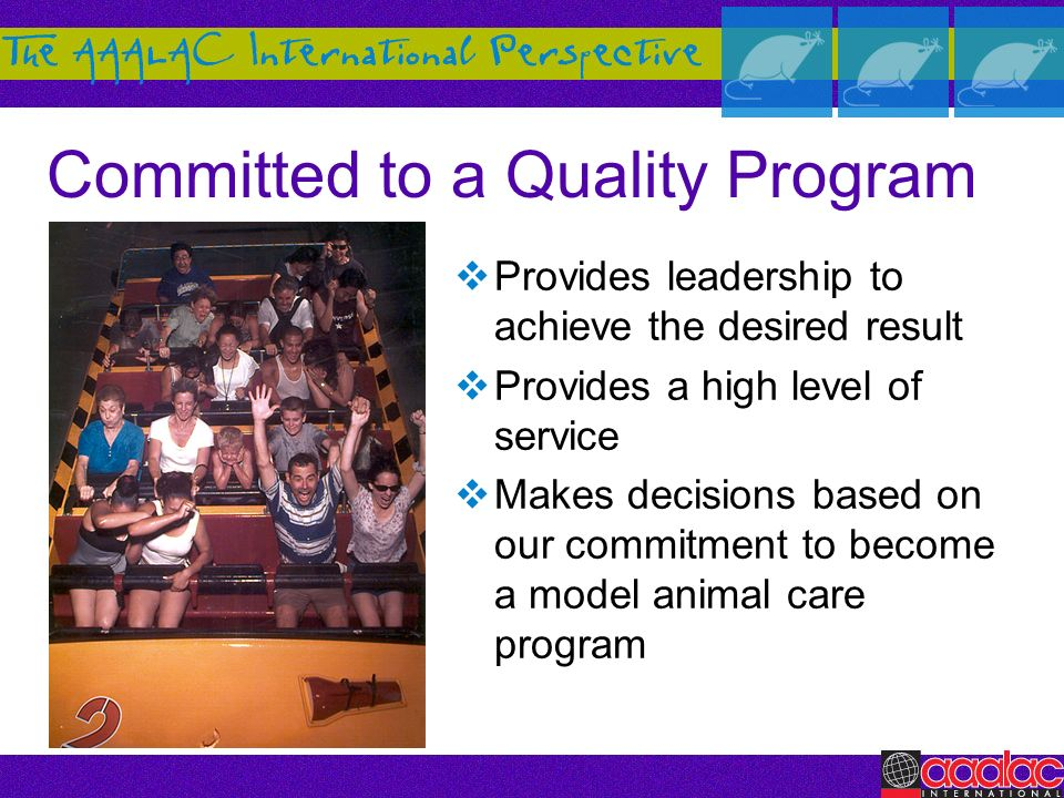 Committed to a Quality Program Provides leadership to achieve the desired result Provides a high level of service Makes decisions based on our commitm