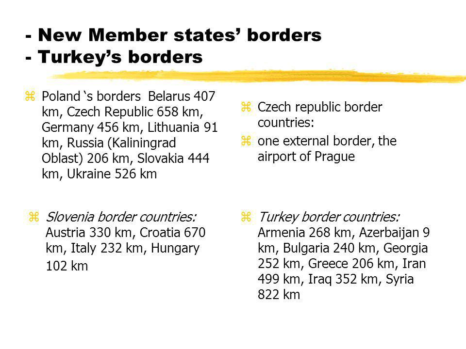 - New Member states borders - Turkeys borders zPoland s borders Belarus 407 km, Czech Republic 658 km, Germany 456 km, Lithuania 91 km, Russia (Kaliningrad Oblast) 206 km, Slovakia 444 km, Ukraine 526 km z Czech republic border countries: z one external border, the airport of Prague z Slovenia border countries: Austria 330 km, Croatia 670 km, Italy 232 km, Hungary 102 km z Turkey border countries: Armenia 268 km, Azerbaijan 9 km, Bulgaria 240 km, Georgia 252 km, Greece 206 km, Iran 499 km, Iraq 352 km, Syria 822 km