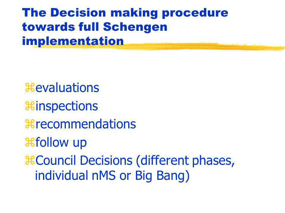 The Decision making procedure towards full Schengen implementation zevaluations zinspections zrecommendations zfollow up zCouncil Decisions (different phases, individual nMS or Big Bang)