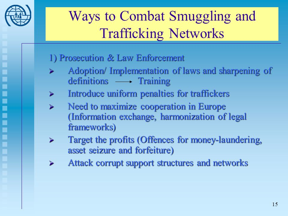 15 Ways to Combat Smuggling and Trafficking Networks 1) Prosecution & Law Enforcement Adoption/ Implementation of laws and sharpening of definitions Training Adoption/ Implementation of laws and sharpening of definitions Training Introduce uniform penalties for traffickers Introduce uniform penalties for traffickers Need to maximize cooperation in Europe (Information exchange, harmonization of legal frameworks) Need to maximize cooperation in Europe (Information exchange, harmonization of legal frameworks) Target the profits (Offences for money-laundering, asset seizure and forfeiture) Target the profits (Offences for money-laundering, asset seizure and forfeiture) Attack corrupt support structures and networks Attack corrupt support structures and networks