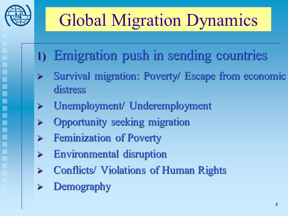 4 Global Migration Dynamics 1) Emigration push in sending countries Survival migration: Poverty/ Escape from economic distress Survival migration: Poverty/ Escape from economic distress Unemployment/ Underemployment Unemployment/ Underemployment Opportunity seeking migration Opportunity seeking migration Feminization of Poverty Feminization of Poverty Environmental disruption Environmental disruption Conflicts/ Violations of Human Rights Conflicts/ Violations of Human Rights Demography Demography