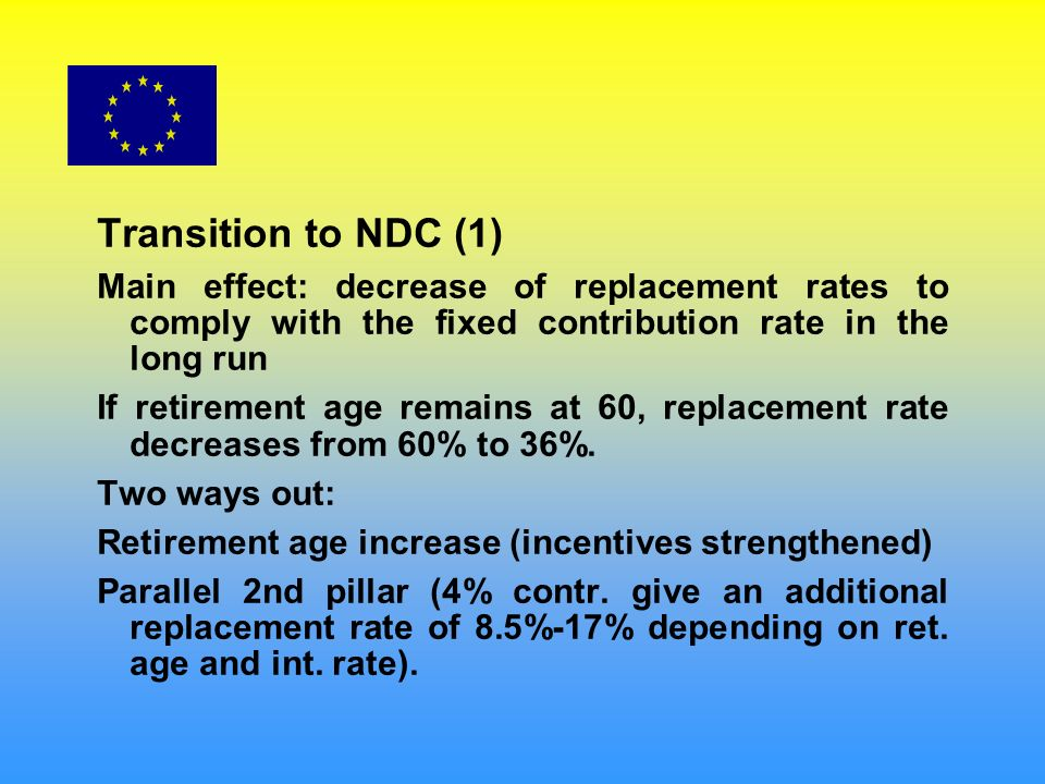 Transition to NDC (1) Main effect: decrease of replacement rates to comply with the fixed contribution rate in the long run If retirement age remains at 60, replacement rate decreases from 60% to 36%.