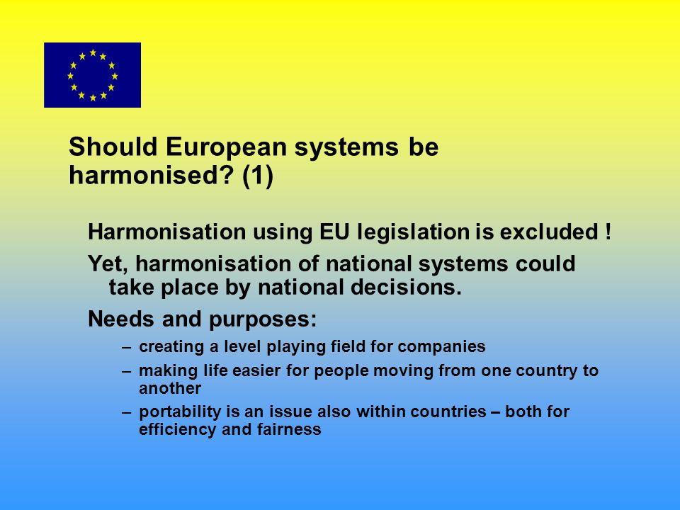 Should European systems be harmonised. (1) Harmonisation using EU legislation is excluded .