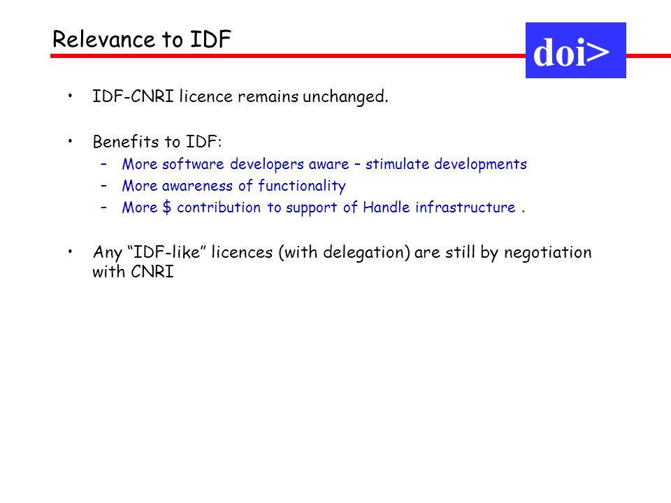 doi> IDF-CNRI licence remains unchanged.