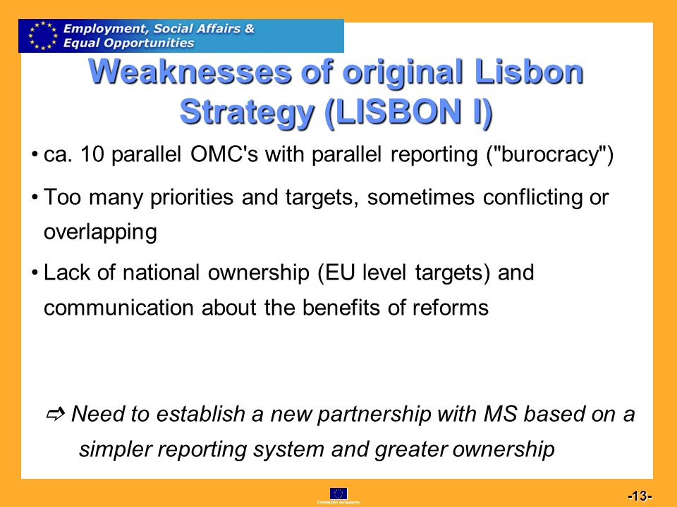 Commission européenne 13 -13- Weaknesses of original Lisbon Strategy (LISBON I) ca.