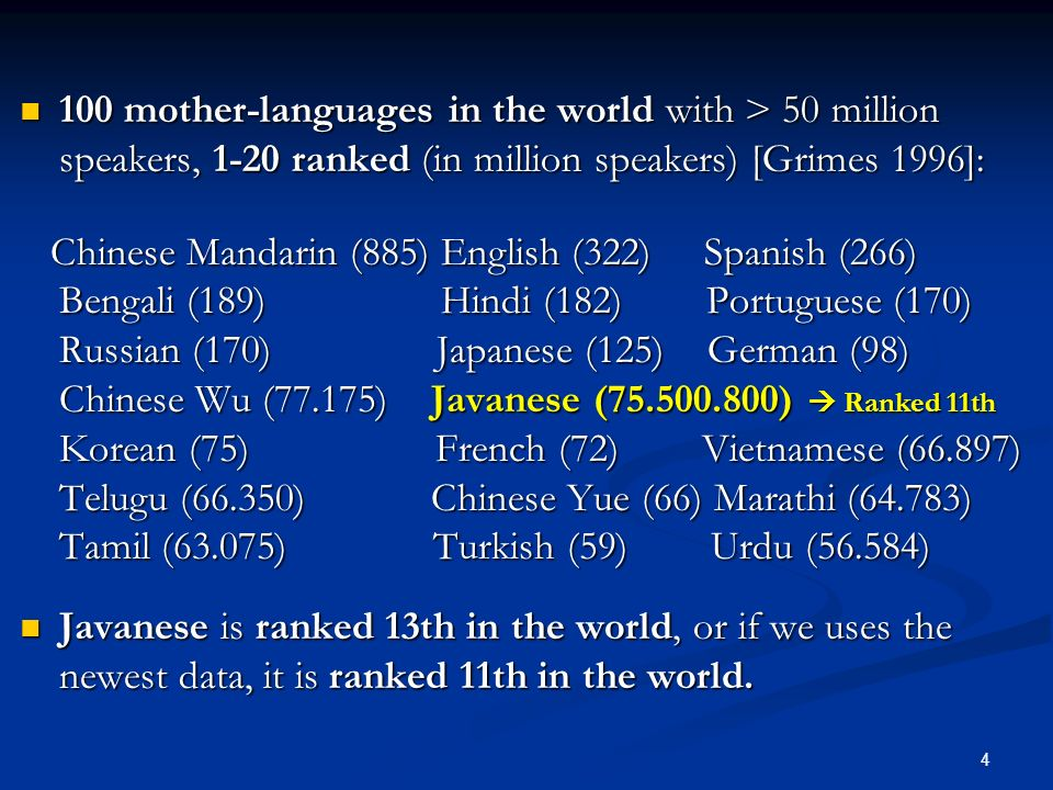 100 mother-languages in the world with > 50 million speakers, 1-20 ranked (in million speakers) [Grimes 1996]: 100 mother-languages in the world with