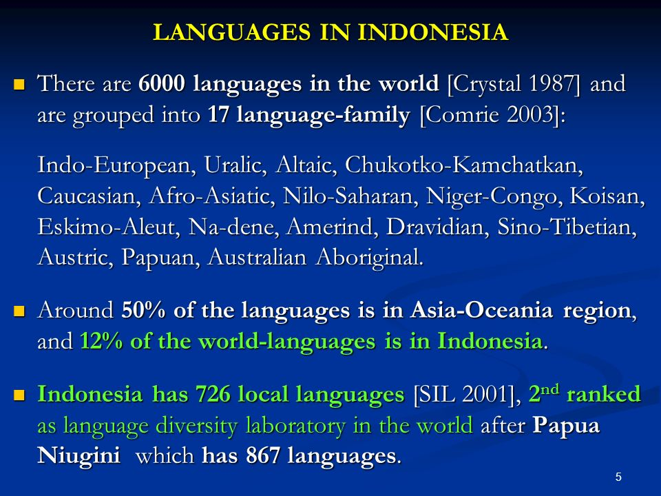 LANGUAGES IN INDONESIA There are 6000 languages in the world [Crystal 1987] and are grouped into 17 language-family [Comrie 2003]: There are 6000 lang