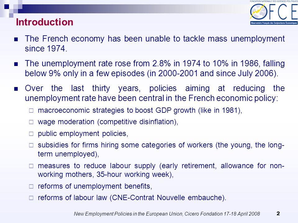 New Employment Policies in the European Union, Cicero Fondation 17-18 April 2008 33 Laroque and Salanié (2000) use a microeconomic simulation model.