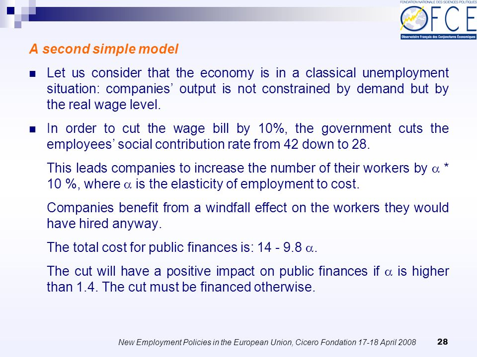 New Employment Policies in the European Union, Cicero Fondation April A second simple model Let us consider that the economy is in a classical unemployment situation: companies output is not constrained by demand but by the real wage level.