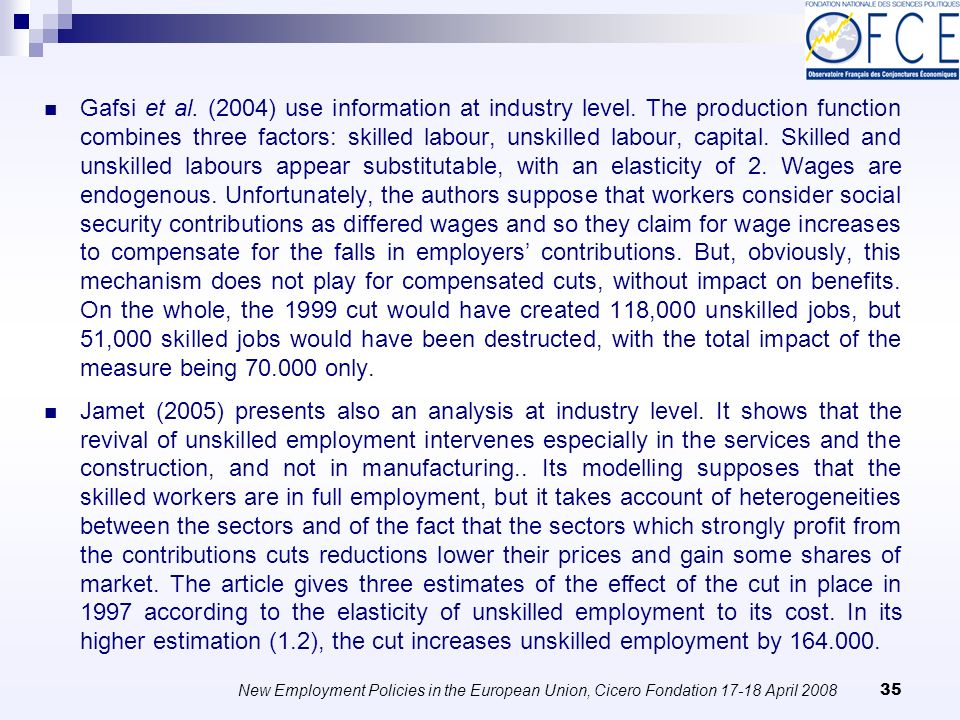 New Employment Policies in the European Union, Cicero Fondation April Gafsi et al.