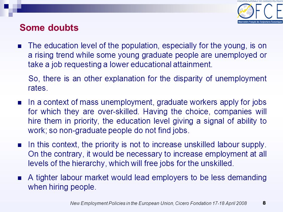New Employment Policies in the European Union, Cicero Fondation 17-18 April 2008 29 9.