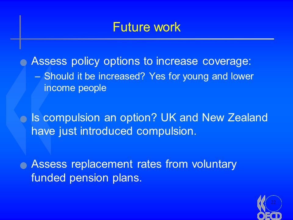 22 Future work Assess policy options to increase coverage: –Should it be increased? Yes for young and lower income people Is compulsion an option? UK