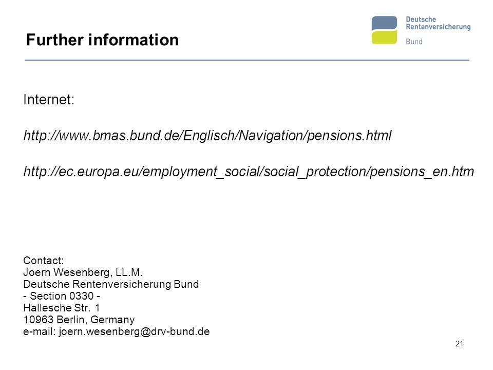 21 Further information Internet: http://www.bmas.bund.de/Englisch/Navigation/pensions.html http://ec.europa.eu/employment_social/social_protection/pen