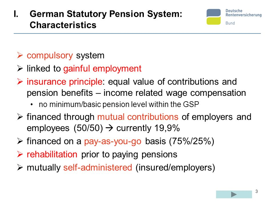 3 I.German Statutory Pension System: Characteristics compulsory system linked to gainful employment insurance principle: equal value of contributions