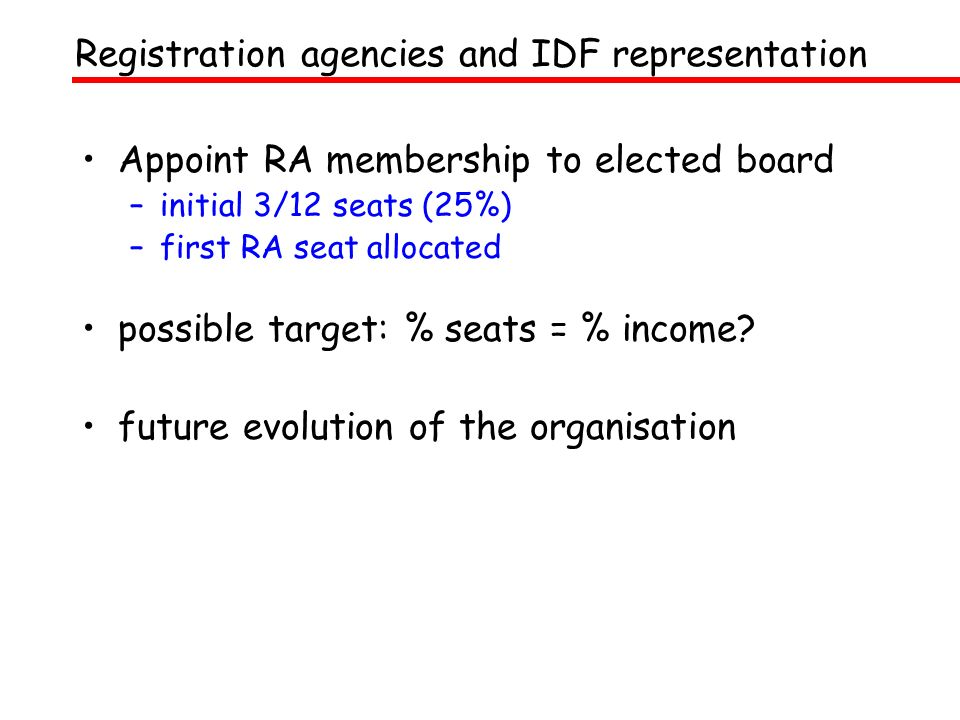 Appoint RA membership to elected board –initial 3/12 seats (25%) –first RA seat allocated possible target: % seats = % income? future evolution of the