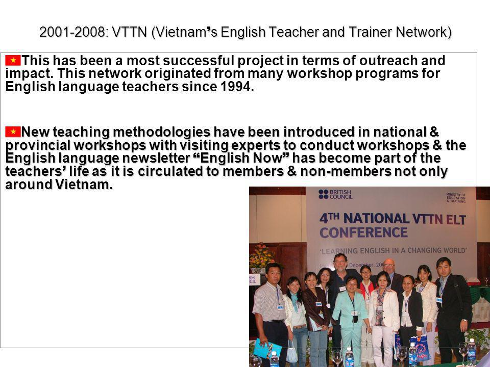 : VTTN (Vietnam s English Teacher and Trainer Network) This has been a most successful project in terms of outreach and impact.