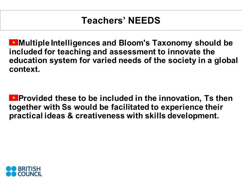 Teachers NEEDS Multiple Intelligences and Bloom's Taxonomy should be included for teaching and assessment to innovate the education system for varied