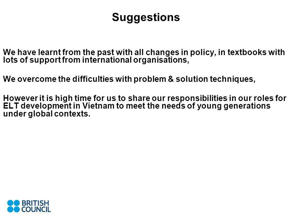 Suggestions We have learnt from the past with all changes in policy, in textbooks with lots of support from international organisations, We overcome the difficulties with problem & solution techniques, However it is high time for us to share our responsibilities in our roles for ELT development in Vietnam to meet the needs of young generations under global contexts.