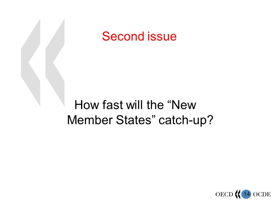 14 How fast will the New Member States catch-up Second issue