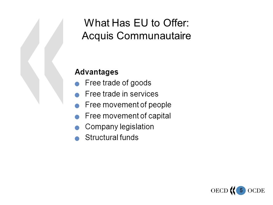5 What Has EU to Offer: Acquis Communautaire Advantages Free trade of goods Free trade in services Free movement of people Free movement of capital Company legislation Structural funds