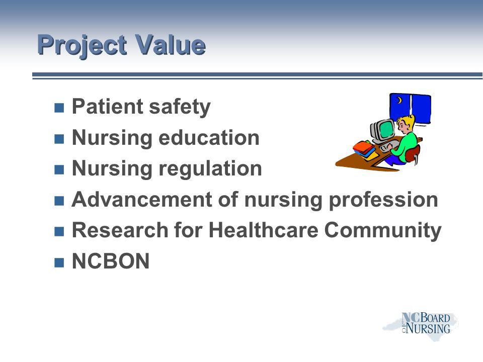 Project Value n Patient safety n Nursing education n Nursing regulation n Advancement of nursing profession n Research for Healthcare Community n NCBON