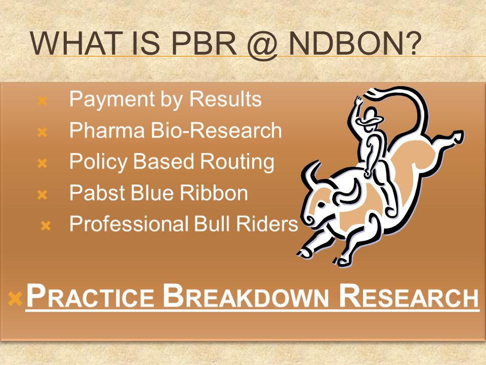WHAT IS PBR @ NDBON