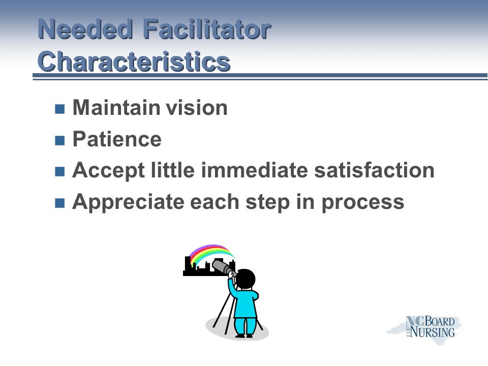 Needed Facilitator Characteristics n Maintain vision n Patience n Accept little immediate satisfaction n Appreciate each step in process