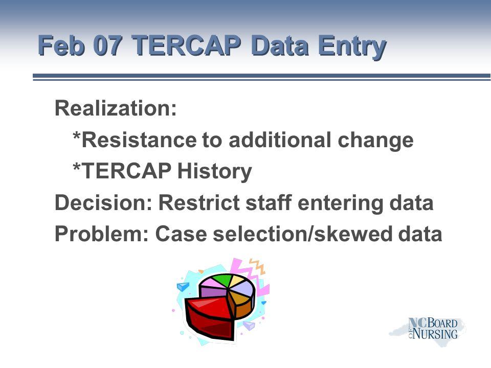 Feb 07 TERCAP Data Entry Realization: *Resistance to additional change *TERCAP History Decision: Restrict staff entering data Problem: Case selection/skewed data