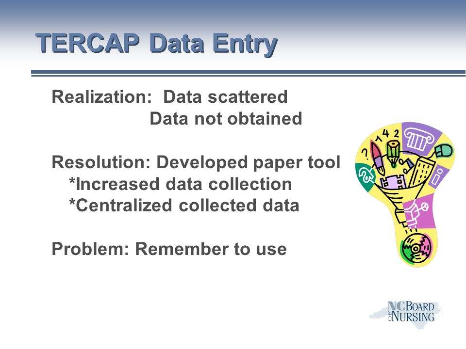 TERCAP Data Entry Realization: Data scattered Data not obtained Resolution: Developed paper tool *Increased data collection *Centralized collected data Problem: Remember to use
