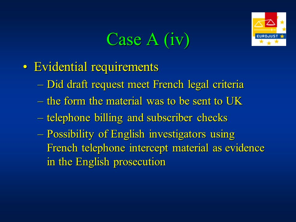 Case A (iii) ObjectivesObjectives –Ensure effective co-ordination of both cases –Facilitate execution of Letters of Request –develop future strategy a