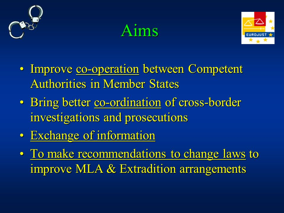 Aims Improve co-operation between Competent Authorities in Member StatesImprove co-operation between Competent Authorities in Member States Bring bett