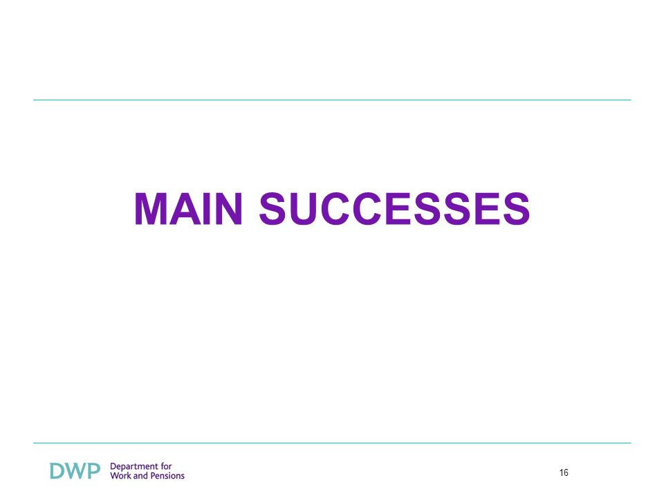 16 MAIN SUCCESSES