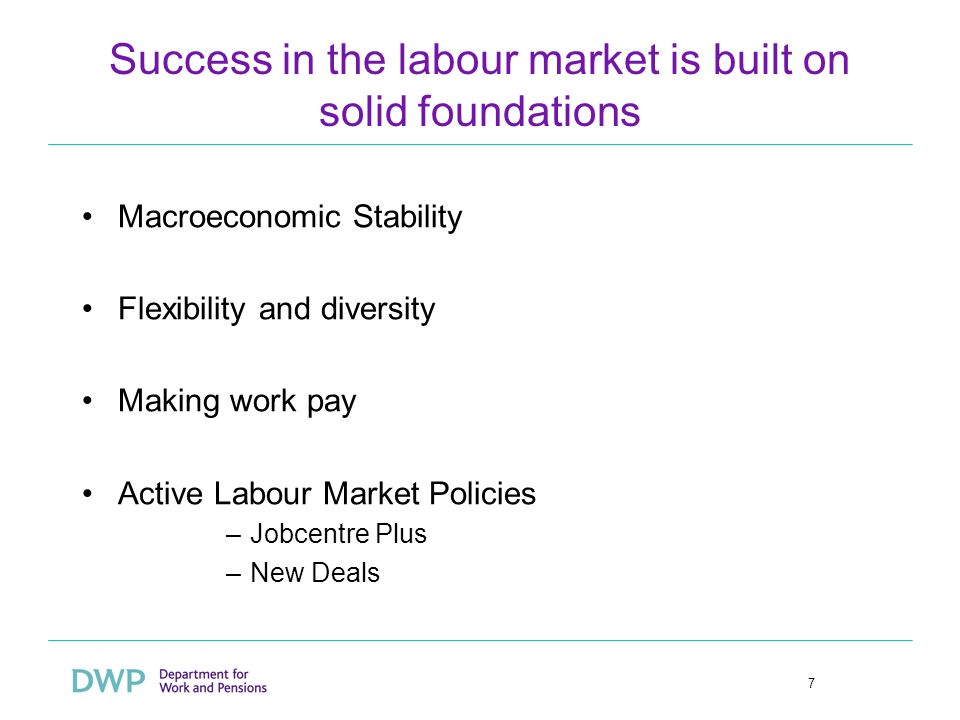 7 Success in the labour market is built on solid foundations Macroeconomic Stability Flexibility and diversity Making work pay Active Labour Market Po