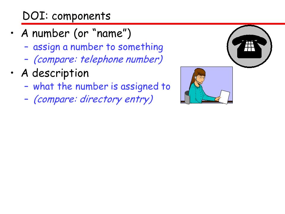 A number (or name) –assign a number to something –(compare: telephone number) A description –what the number is assigned to –(compare: directory entry) DOI: components