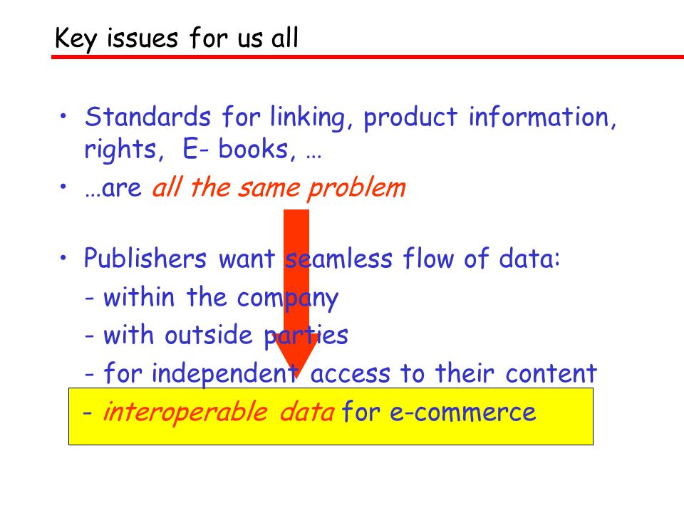 Key issues for us all Standards for linking, product information, rights, E- books, … …are all the same problem Publishers want seamless flow of data: - within the company - with outside parties - for independent access to their content - interoperable data for e-commerce