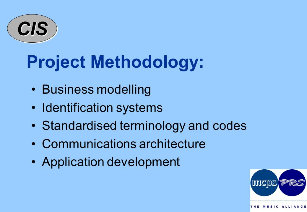 CISCIS Project Methodology: Business modelling Identification systems Standardised terminology and codes Communications architecture Application development