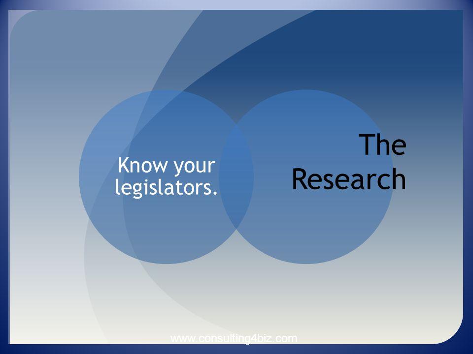 Know your legislators. The Research www.consulting4biz.com