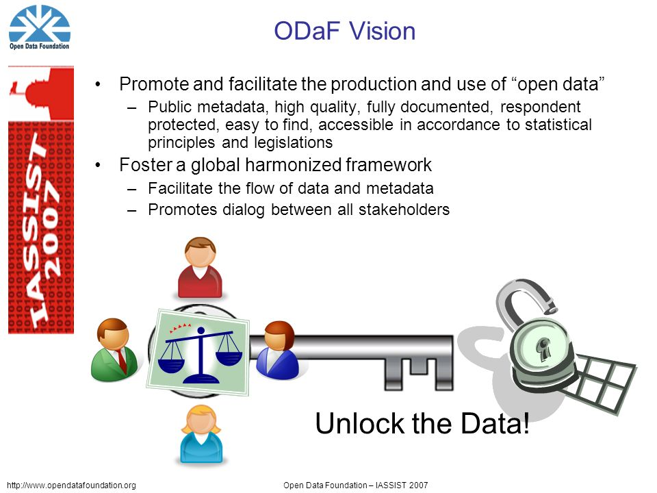 http://www.opendatafoundation.orgOpen Data Foundation – IASSIST 2007 ODaF Vision Promote and facilitate the production and use of open data –Public metadata, high quality, fully documented, respondent protected, easy to find, accessible in accordance to statistical principles and legislations Foster a global harmonized framework –Facilitate the flow of data and metadata –Promotes dialog between all stakeholders Unlock the Data!