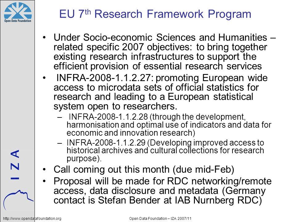 http://www.opendatafoundation.orgOpen Data Foundation – IZA 2007/11 EU 7 th Research Framework Program Under Socio-economic Sciences and Humanities –
