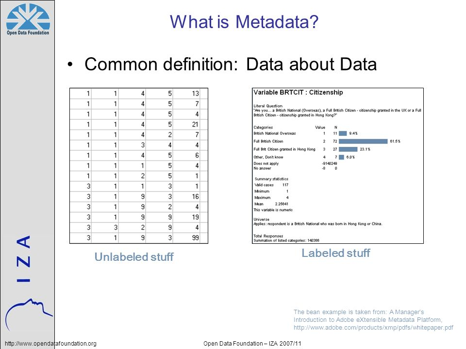 http://www.opendatafoundation.orgOpen Data Foundation – IZA 2007/11 What is Metadata? Common definition: Data about Data Unlabeled stuffLabeled stuff