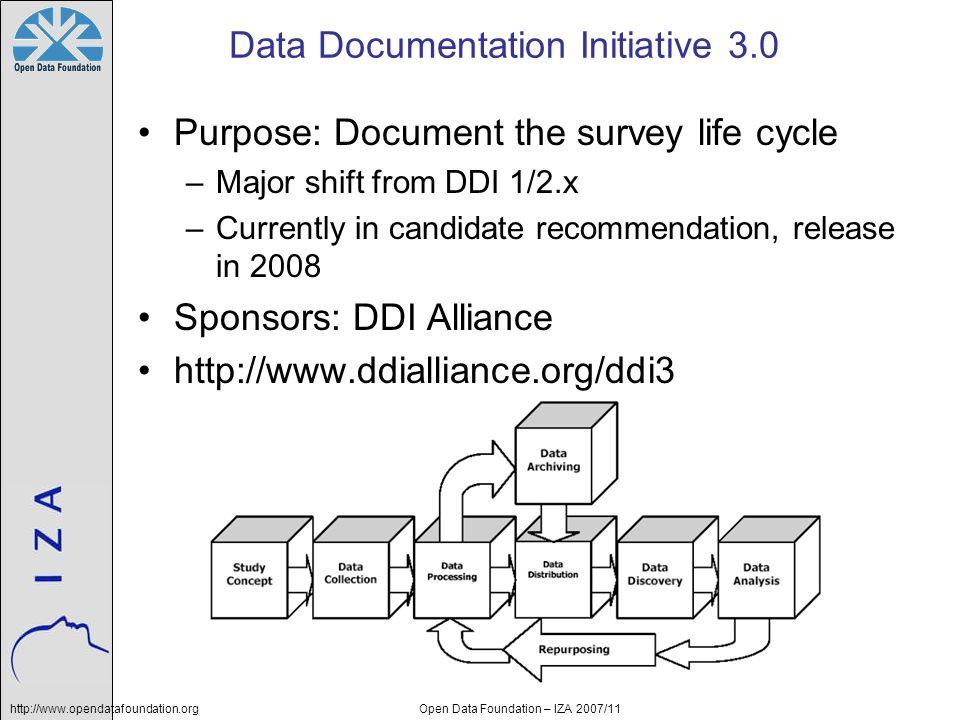 http://www.opendatafoundation.orgOpen Data Foundation – IZA 2007/11 Data Documentation Initiative 3.0 Purpose: Document the survey life cycle –Major s